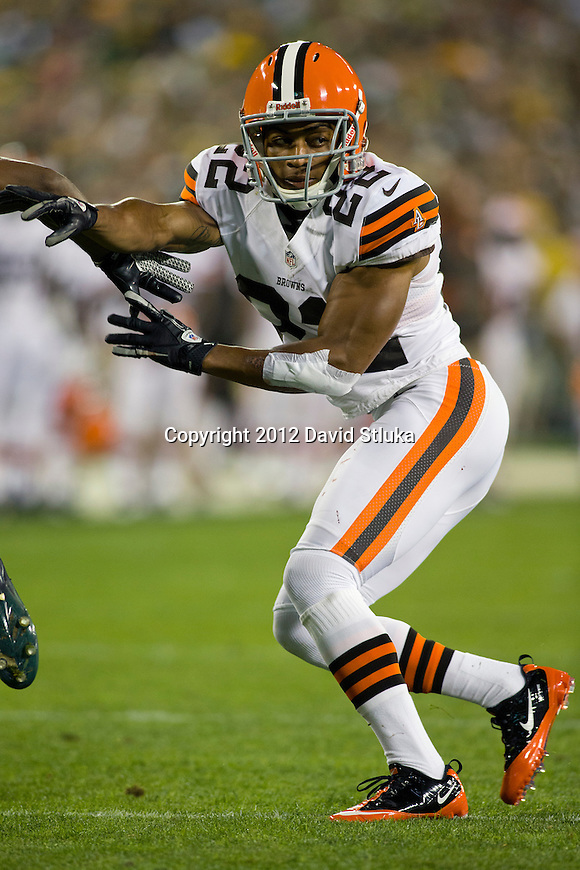 Cleveland Browns defensive back Buster Skrine (22) plays defense during an NFL preseason week 2 football game against the Green Bay Packers on August 16, 2012 in Green Bay, Wisconsin. The Browns won 35-10. (AP Photo/David Stluka)
