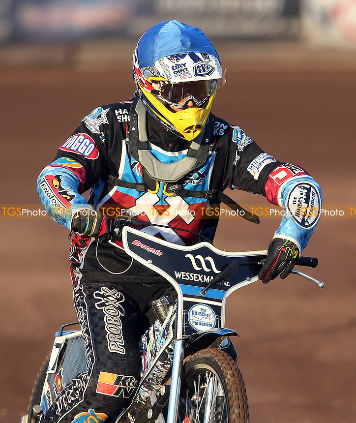 Adam Ellis of Lakeside Hammers - Lakeside Hammers vs Leicester Lions, Elite League Speedway at the Arena Essex Raceway, Pufleet - 13/06/14 - MANDATORY CREDIT: Rob Newell/TGSPHOTO - Self billing applies where appropriate - 0845 094 6026 - contact@tgsphoto.co.uk - NO UNPAID USE
