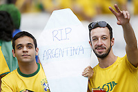 Brazil fans with a RIP Argentina coffin sign