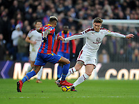 Crystal Palace's Patrick van Aanholt battles with Burnley's Jeff Hendrick<br /> <br /> Photographer Ashley Crowden/CameraSport<br /> <br /> The Premier League - Crystal Palace v Burnley - Saturday 13th January 2018 - Selhurst Park - London<br /> <br /> World Copyright &copy; 2018 CameraSport. All rights reserved. 43 Linden Ave. Countesthorpe. Leicester. England. LE8 5PG - Tel: +44 (0) 116 277 4147 - admin@camerasport.com - www.camerasport.com