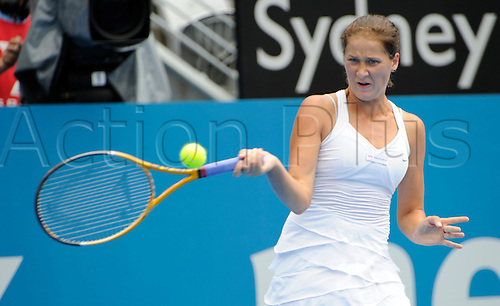 13.01.2011 The Medibank International Tennis series from the Sydney Olympic Park. Bojana Jovanovski of Serbia returns a shot in her match against Na Li of China on day five of the 2011 Medibank International at the Sydney Olympic Park Tennis Centre in Sydney, Australia.