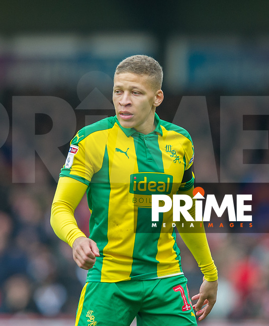 WBA's Dwight Gayle during the Sky Bet Championship match between Brentford and West Bromwich Albion at Griffin Park, London, England on 16 March 2019. Photo by Andrew Aleksiejczuk / PRiME Media Images.