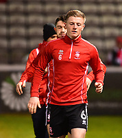 Lincoln City's Scott Whartonduring the pre-match warm-up<br /> <br /> Photographer Andrew Vaughan/CameraSport<br /> <br /> The EFL Sky Bet League Two - Cambridge United v Lincoln City - Friday 9th February 2018 - Abbey Stadium - Cambridge<br /> <br /> World Copyright &copy; 2018 CameraSport. All rights reserved. 43 Linden Ave. Countesthorpe. Leicester. England. LE8 5PG - Tel: +44 (0) 116 277 4147 - admin@camerasport.com - www.camerasport.com