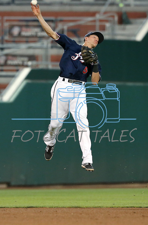 Reno Aces shortstop Nick Ahmed makes a play against the Omaha Storm Chasers 5-2 Wednesday, Aug. 27, 2014, in Reno, Nev.<br /> Photo by Cathleen Allison
