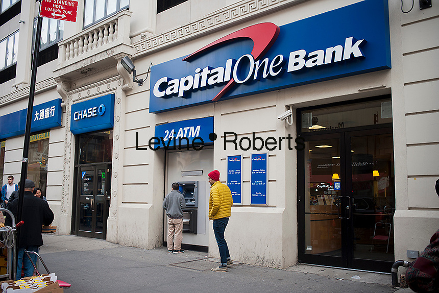 Capital One and JPMorgan Chase next to each other in Chinatown in New York on Saturday, October 28, 2012. (© Richard B. Levine)