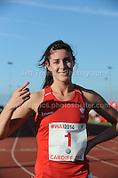 International athletics at Cardiff International stadium, Cardiff, South Wales - Tuesday 15th July 2014<br /> <br /> Seren Bundy-Davies of Wales winner of the Women's 400m final race<br /> <br /> <br /> Photo by Jeff Thomas Photography