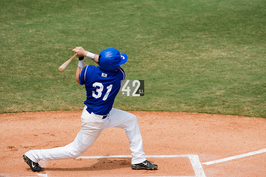 22 August 2007: #31 Anthony Cros is seen at bat during the Japan 9-4 victory over France in the Good Luck Beijing International baseball tournament (olympic test event) at west Beijng's Wukesong Baseball Field in Beijing, China.