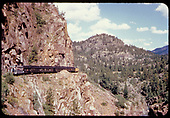 Excursion train with &quot;Silver Vista&quot; observation car on the High Line in Animas Canyon.<br /> D&amp;RGW  Animas Canyon, CO