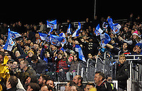 Bath fans in the crowd wave flags in support. Aviva Premiership match, between Bath Rugby and Newcastle Falcons on November 15, 2014 at the Recreation Ground in Bath, England. Photo by: Patrick Khachfe / Onside Images