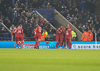 26th December 2019; King Power Stadium, Leicester, Midlands, England; English Premier League Football, Leicester City versus Liverpool; Roberto Firmino of Liverpool celebrates with his team after heading the ball in to the Leicester goal to take the lead 0-1 - Strictly Editorial Use Only. No use with unauthorized audio, video, data, fixture lists, club/league logos or 'live' services. Online in-match use limited to 120 images, no video emulation. No use in betting, games or single club/league/player publications