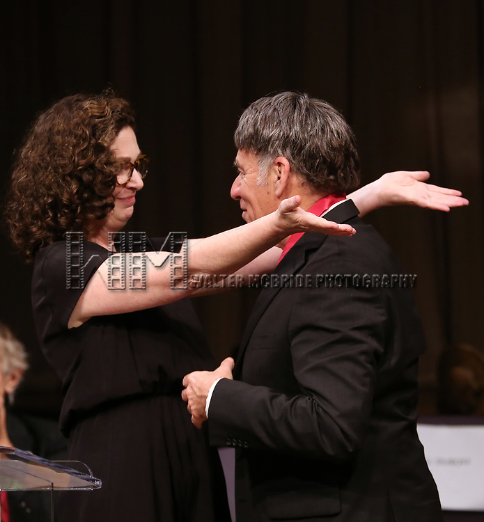 Julia Jordan and Stephen Schwartz on stage at the The Lilly Awards  at Playwrights Horizons on May 22, 2017 in New York City.