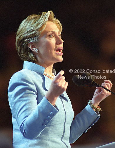 First lady Hillary Rodham Clinton, a candidate for the United States Senate from the State of New York, speaks on the opening night of the 2000 Democratic National Convention in Los Angeles, California, Monday, August 14, 2000. <br /> Credit: Ron Sachs / CNP