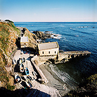 An old lifeboat station by the sea at Lizard in Cornwall.