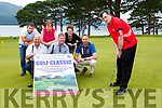 Michael O'Leary practises his putting ahead of the St John of Gods Kerry services Golf Classic which will be held in O'Mahony's Point on Friday August with l-r: Mike Cashman Liam Healy, Helen O'Connor, Damian McCarthy, Claire Dwyer, Cormac Flannery,