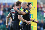 Saracens' Chris Wyles celebrates scoring his side's 1st try with Saracens' Charlie Hodgson - Rugby Union - 2014 / 2015 Aviva Premiership - Saracens vs. Gloucester - Allianz Park Stadium - London - 11/10/2014 - Pic Charlie Forgham-Bailey/Sportimage
