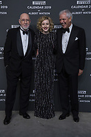 """Marco Tronchetti Provera (Pirelli's President), Albert Watson, Julia Garner attend the gala night for official presentation of the Presentation of the Pirelli Calendar 2019 """"The cal"""" held at the Hangar Bicocca. Milan (Italy) on december 5, 2018. Credit: Action Press/MediaPunch ***FOR USA ONLY***"""