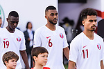 Abdel Aziz Hatim of Qatar (C) reacts prior to the AFC Asian Cup UAE 2019 Quarter Finals match between Qatar (QAT) and South Korea (KOR) at Zayed Sports City Stadium  on 25 January 2019 in Abu Dhabi, United Arab Emirates. Photo by Marcio Rodrigo Machado / Power Sport Images