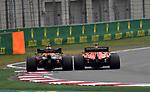 14.04.2019, Shanghai Audi International Circuit, Shanghai, 2019 FORMULA 1 HEINEKEN CHINESE GRAND PRIX<br /> im Bild<br />Max Verstappen (NEL#33), Aston Martin Red Bull Racing versucht Sebastian Vettel (GER#5), Scuderia Ferrari zu &uuml;berholen<br /> <br /><br /> <br /> Foto &copy; nordphoto / Bratic
