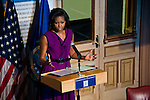 Michelle Obama, US First Lady, delivers remarks in Riggs Library.