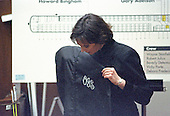 Prosecutor Marcia Clark holds a garment bag that was used as evidence during the questioning of Jim Merrill of the Hertz Corporation during the trial of former NFL star running back O.J. Simpson for the murder of his former wife, Nicole Brown Simpson and a friend of hers, restaurant waiter, Ron Goldman in Los Angeles County Superior Court in Los Angeles, California on July 13, 1995.<br /> Credit: Steve Grayson / Pool via CNP