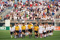 The USA and China teams enter the field for pre-game introductions. The United States (USA) women defeated China PR (CHN) 4-1 during an international friendly at PPL Park in Chester, PA, on May 27, 2012.