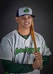 11 June 2019: Vermont Lake Monsters outfielder Noah Vaughan poses for a portrait on Photo Day at Centennial Field in Burlington, Vermont. The Lake Monsters are the Single-A minor league affiliate of the Oakland Athletics and play a short season in the NY Penn League Stedler Division. Mandatory Credit: Ed Wolfstein Photo *** RAW (NEF) Image File Available ***