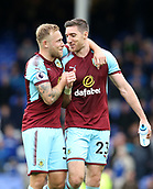 1st October 2017, Goodison Park, Liverpool, England; EPL Premier League Football, Everton versus Burnley; Scott Arfield of Burnley and Stephen Ward of Burnley celebrate their team's 0-1 win