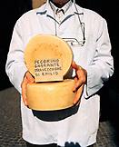 ITALY, Orvieto, Umbria, butcher Emilio Batalocco holding pecorino cheese.