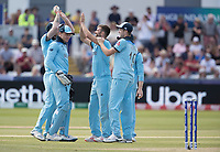 Mark Wood (England) celebrates the wicket of James Neesham during England vs New Zealand, ICC World Cup Cricket at The Riverside Ground on 3rd July 2019