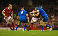 1st February 2020; Millennium Stadium, Cardiff, Glamorgan, Wales; International Rugby, Six Nations Rugby, Wales versus Italy; Justin Tipuric of Wales is tackled by Luca Bigi of Italy