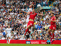 Leeds United's Liam Cooper competes with Nottingham Forest's Michael Dawson<br /> <br /> Photographer Alex Dodd/CameraSport<br /> <br /> The EFL Sky Bet Championship - Leeds United v Nottingham Forest - Saturday 10th August 2019 - Elland Road - Leeds<br /> <br /> World Copyright © 2019 CameraSport. All rights reserved. 43 Linden Ave. Countesthorpe. Leicester. England. LE8 5PG - Tel: +44 (0) 116 277 4147 - admin@camerasport.com - www.camerasport.com