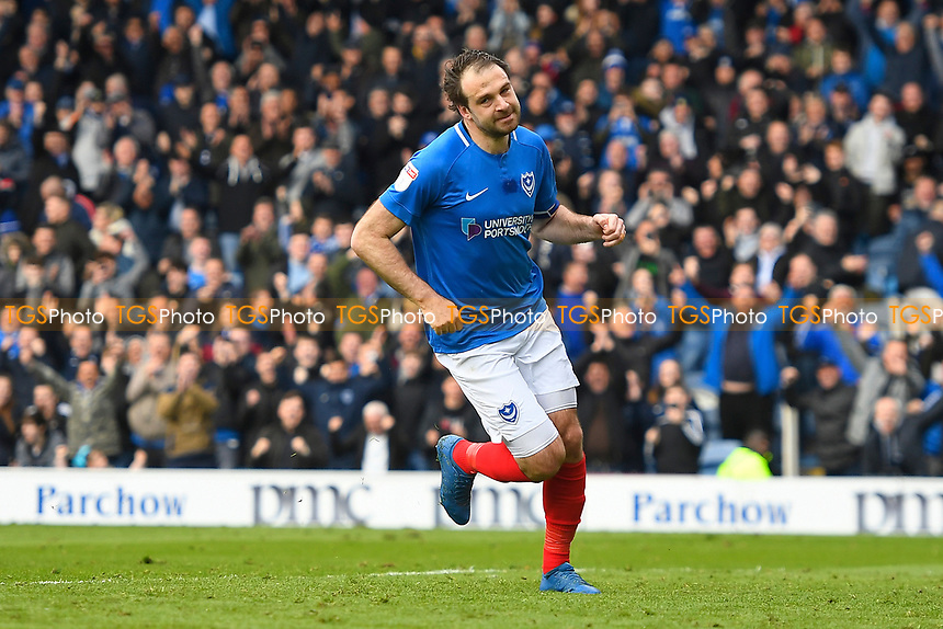 Brett Pitman of Portsmouth celebrates scoring during Portsmouth vs Rochdale, Sky Bet EFL League 1 Football at Fratton Park on 13th April 2019