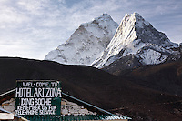 Ama Dablam (22,493 ft./6856 m.) towers over the Hotel Ari Zona in Dingboche, Nepal.