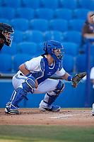 Dunedin Blue Jays catcher Danny Jansen (5) awaits the pitch during a game against the St. Lucie Mets on April 20, 2017 at Florida Auto Exchange Stadium in Dunedin, Florida.  Dunedin defeated St. Lucie 6-4.  (Mike Janes/Four Seam Images)