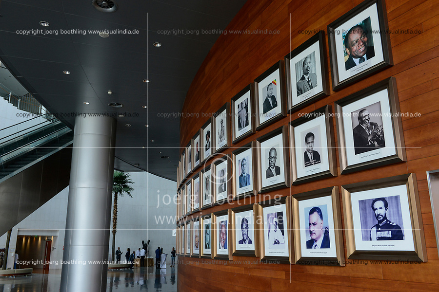 ETHIOPIA Addis Ababa, AU African Union building, wall with photos of african presidents and PM ie Haile Selassie, Nelson Mandela, Salvar Kiir Mayardit, Patrice Lumumba, Robert Mugabe / AETHIOPIEN, Addis Abeba, Gebaeude der AU Afrikanischen Union, Foyer mit Fotos afrikanischer Praesidenten und Premierminister
