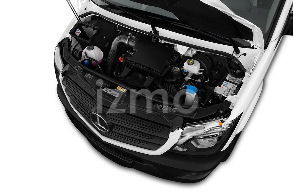 Car stock 2017 Mercedes Benz Sprinter Base 4 Door Cargo Van engine high angle detail view