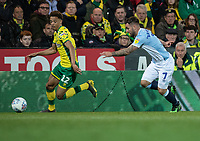 Norwich City's Jamal Lewis (left) under pressure from Blackburn Rovers' Adam Armstrong (right) <br /> <br /> Photographer David Horton/CameraSport<br /> <br /> The EFL Sky Bet Championship - Norwich City v Blackburn Rovers - Saturday 27th April 2019 - Carrow Road - Norwich<br /> <br /> World Copyright © 2019 CameraSport. All rights reserved. 43 Linden Ave. Countesthorpe. Leicester. England. LE8 5PG - Tel: +44 (0) 116 277 4147 - admin@camerasport.com - www.camerasport.com