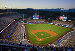 Night game at Dodger Stadium in Los Angeles, CA