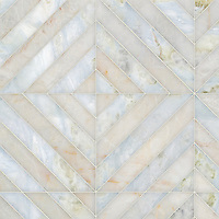 Lars, a hand-cut stone mosaic, shown in polished Cloud Nine and Azure, is part of the Semplice® collection for New Ravenna.