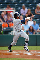 Brevard County Manatees center fielder Johnny Davis (8) at bat during a game against the Fort Myers Miracle on April 13, 2016 at Hammond Stadium in Fort Myers, Florida.  Fort Myers defeated Brevard County 3-0.  (Mike Janes/Four Seam Images)