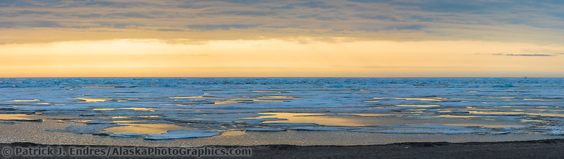 Panorama of sea ice along the Arctic Ocean in Utqiagvik (Barrow) Alaska in Alaska's Arctic.