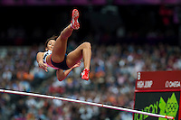 03.08.2012 Stratford, England. Great Britains Katarina Johnson-Thompson (GBR) in action during the High Jump in the Womens Heptathlon on day 7 of the London 2012 Olympic Games in the Olympic Stadium on the Olympic Park.