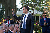 United States Senator Josh Hawley (Republican of Missouri) stands and waves as United States President Donald J. Trump hosts the St. Louis Blues, the 2019 Stanley Cup Champions, at the White House in Washington D.C., U.S. on Tuesday, October 15, 2019.<br /> <br /> Credit: Stefani Reynolds / CNP