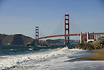San Francisco: Baker Beach with Golden Gate Bridge in background.  Photo # 2-casanf83447.  Photo copyright Lee Foster