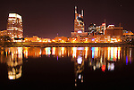 Nashville downtown reflection at night