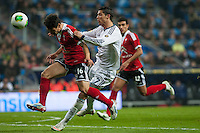 Cristiano Ronaldo fights for the ball