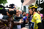 Race leader Yellow Jersey Geraint Thomas (WAL) Team Sky talks to the media outside the team bus in Dusseldorf before the start of Stage 2 of the 104th edition of the Tour de France 2017, running 203.5km from Dusseldorf, Germany to Liege, Belgium. 2nd July 2017.<br /> Picture: ASO/Alex Broadway | Cyclefile<br /> <br /> <br /> All photos usage must carry mandatory copyright credit (&copy; Cyclefile | ASO/Alex Broadway)