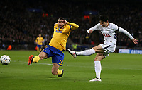 Tottenham Hotspur's Son Heung-Min with a first half shot<br /> <br /> Photographer Rob Newell/CameraSport<br /> <br /> UEFA Champions League Round of 16 Second Leg - Tottenham Hotspur v Juventus - Wednesday 7th March 2018 - Wembley Stadium - London <br />  <br /> World Copyright &copy; 2017 CameraSport. All rights reserved. 43 Linden Ave. Countesthorpe. Leicester. England. LE8 5PG - Tel: +44 (0) 116 277 4147 - admin@camerasport.com - www.camerasport.com