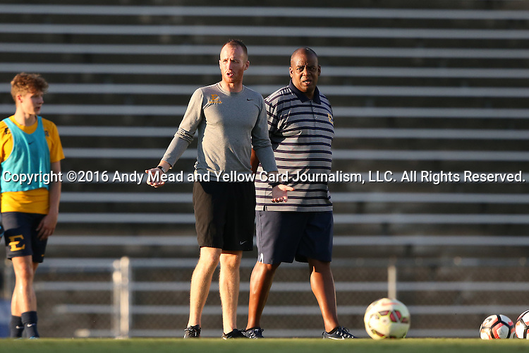 13 September 2016: ETSU head coach Bo Oshoniyi (right). The University of North Carolina Tar Heels hosted the East Tennessee State University Buccaneers at Fetzer Field in Chapel Hill, North Carolina in a 2016 NCAA Division I Men's Soccer match. ETSU won the game 1-0 in sudden death overtime.