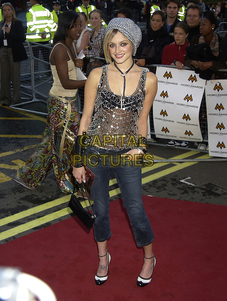 FEARNE COTTON.MOBO Awards.Music of Black Origin.Royal Albert Hall.London 30 September 2004.full length siver sheer see through thru top cropped jeans hat cap star tattoo on ankle.Ref: PL.www.capitalpictures.com.sales@capitalpictures.com.©Capital Pictures.